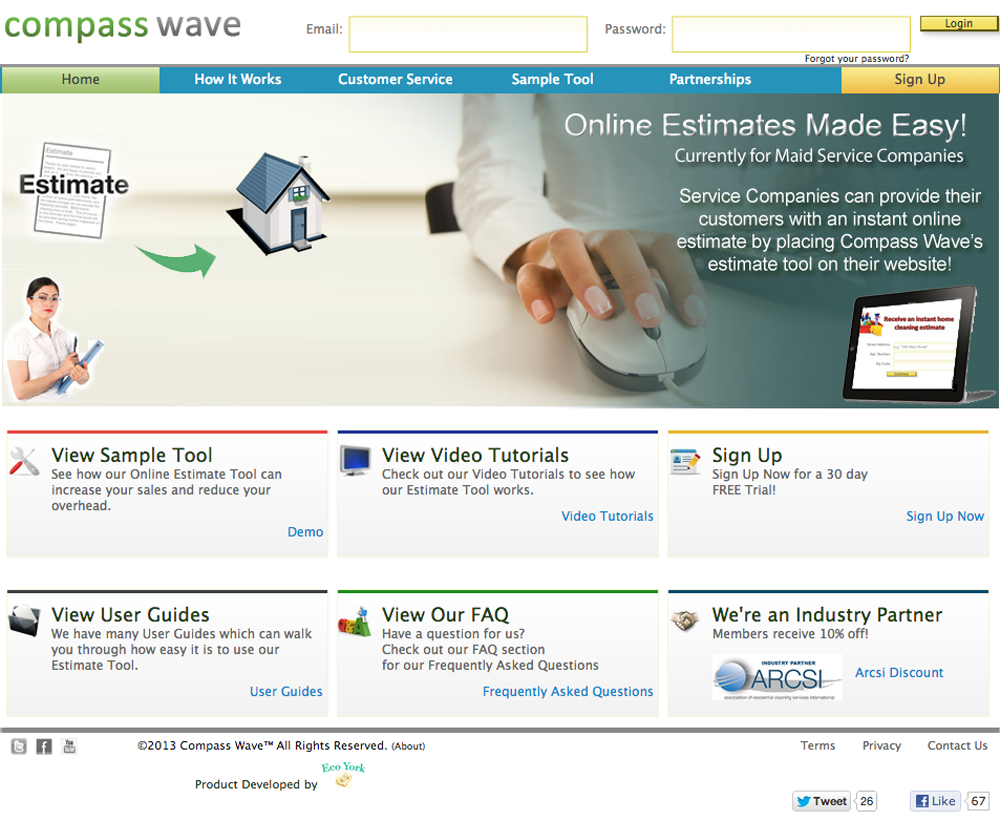 Maid Service Software - compass wave redesign 2013