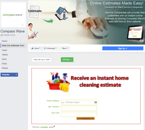 Add our Maid Service Estimating Software to your Facebook Page