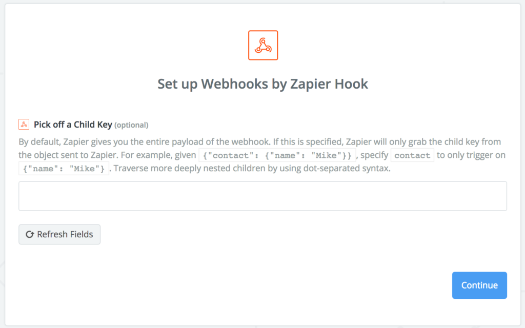 Zapier child key webhook - compass wave