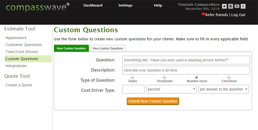 What the Custom Questions Tab Looks Like