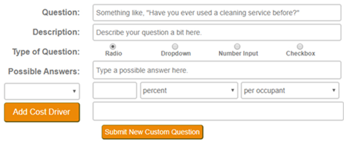 The Expanded New Custom Question Form